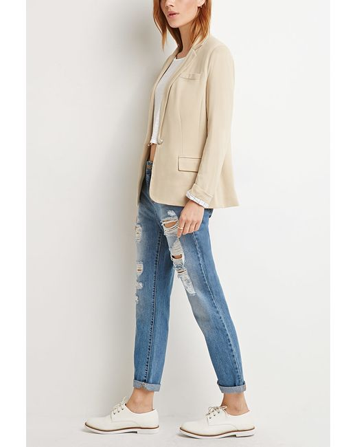Forever 21 | Natural Contemporary Single-button Knit Blazer | Lyst