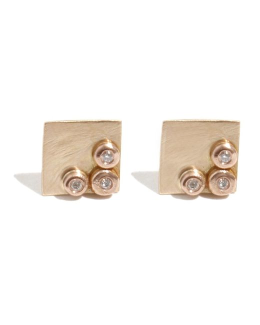 Melissa Joy Manning   Metallic Square Stud Earrings With Diamonds   Lyst