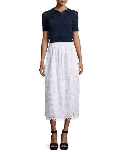 carven cotton eyelet midi skirt in white save 75 lyst