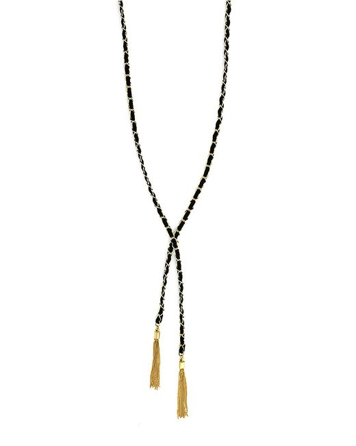 BCBGeneration | Black Gold-tone Faux Suede And Fringe Tassel Y-necklace | Lyst