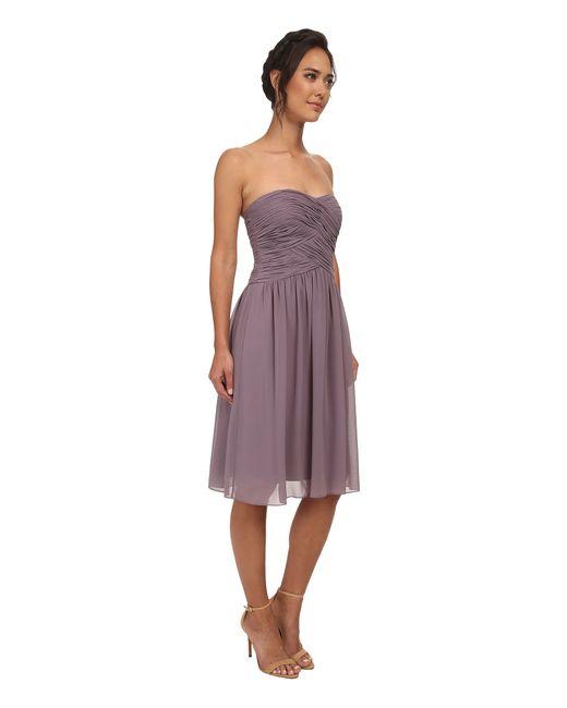 Donna Morgan   Purple Anne Short Strapless Chiffon Dress   Lyst