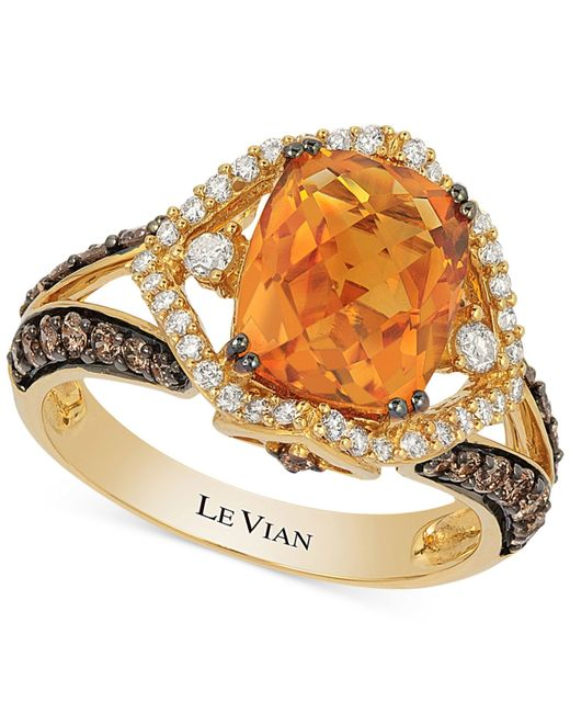 Le Vian | Orange Chocolatier® Citrine (2-2/3 Ct. T.w.) And Diamond (3/4 Ct. T.w.) Ring In 14k Gold | Lyst