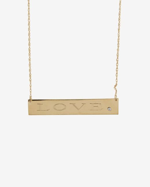 Jennifer Zeuner | Metallic Diamond Detail Love Plate Necklace | Lyst