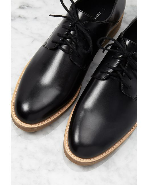 Forever 21 | Black Metallic Faux Patent Oxfords | Lyst