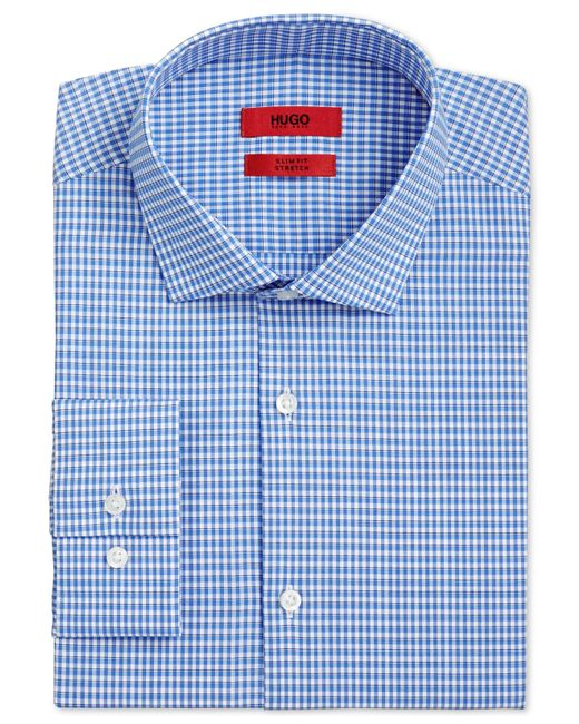 Boss boss slim fit white and blue check dress shirt in for Blue check dress shirt