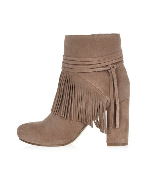 river island sand brown suede fringed ankle boots in