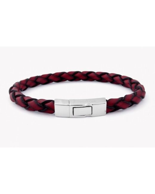 Tateossian | Single Wrap Scoubidou Red Leather Bracelet With Silver Clasp for Men | Lyst