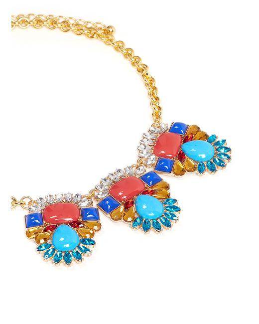 Kenneth Jay Lane   Multicolor Crystal Stone Stations Necklace   Lyst