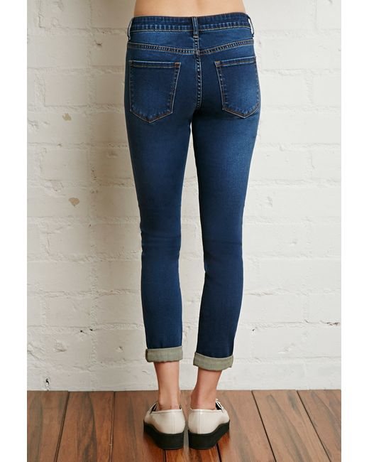 Forever 21 | Blue Mid Rise Cuffed Ankle Jeans | Lyst