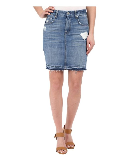 7 For All Mankind | Blue Mini Pencil Skirt W/ Released Hem & Destroy | Lyst
