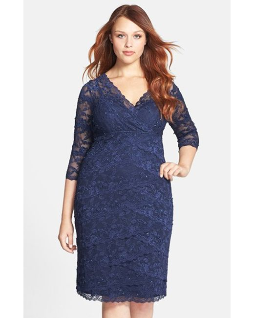 Marina | Blue Embellished Three Quarter Sleeve Lace Dress | Lyst