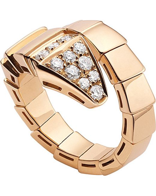 BVLGARI | Serpenti 18kt Pink-gold And Diamond Ring | Lyst