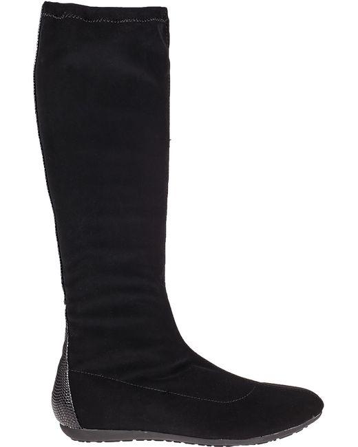 chelsea crew lizard print suede knee high boots in black
