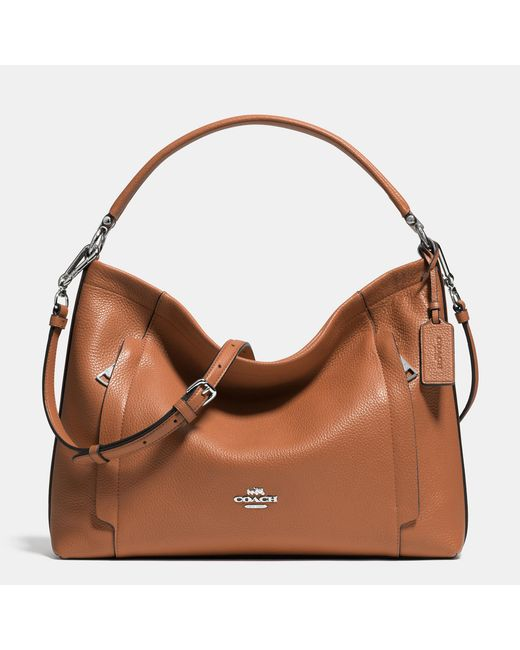 COACH | Brown Scout Hobo In Pebble Leather | Lyst
