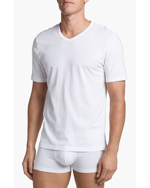 Boss v neck t shirt in white for men lyst for V neck white t shirts for men