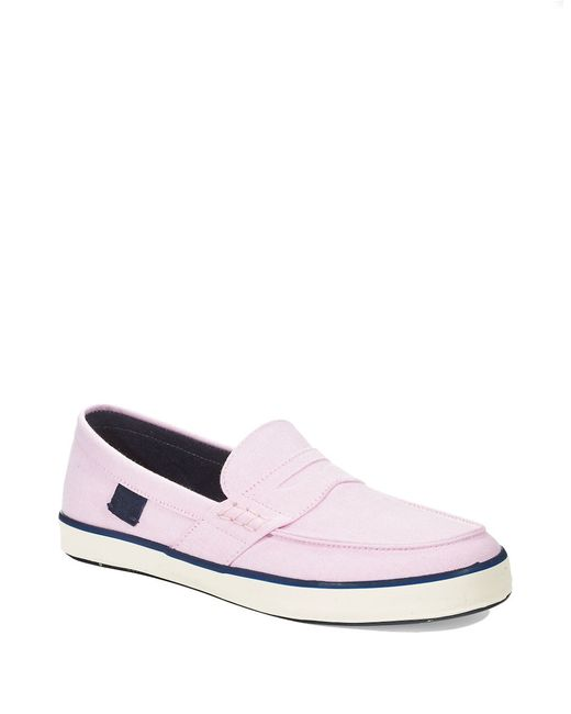 polo ralph evan boat shoes in pink for new