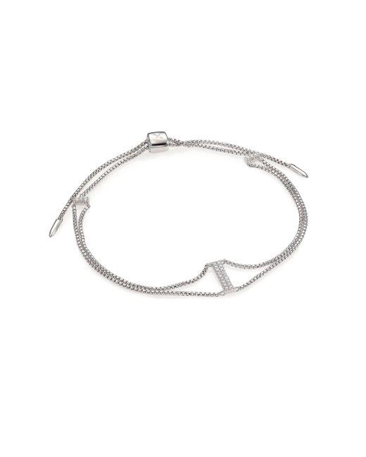 Adriana Orsini | Metallic Bijoux Pave Sterling Silver Bar Double-chain Bracelet | Lyst
