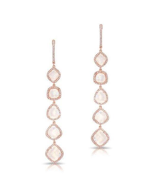Anne Sisteron - Metallic 14kt Rose Gold Organic Moonstone Diamond Drop Earrings - Lyst