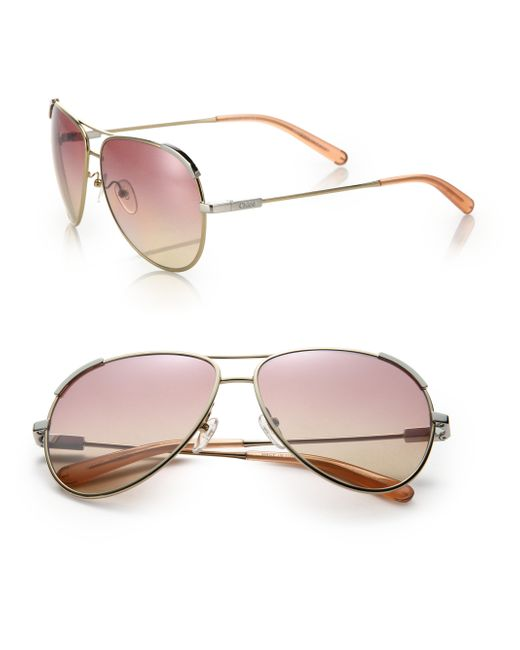Chloé | Gold Eric 60mm Aviator Sunglasses | Lyst