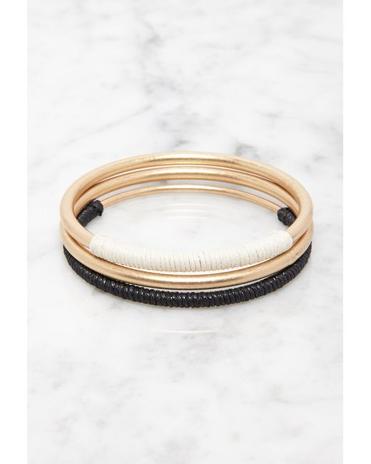 Forever 21   Metallic Cord-wrapped Bangle Set   Lyst