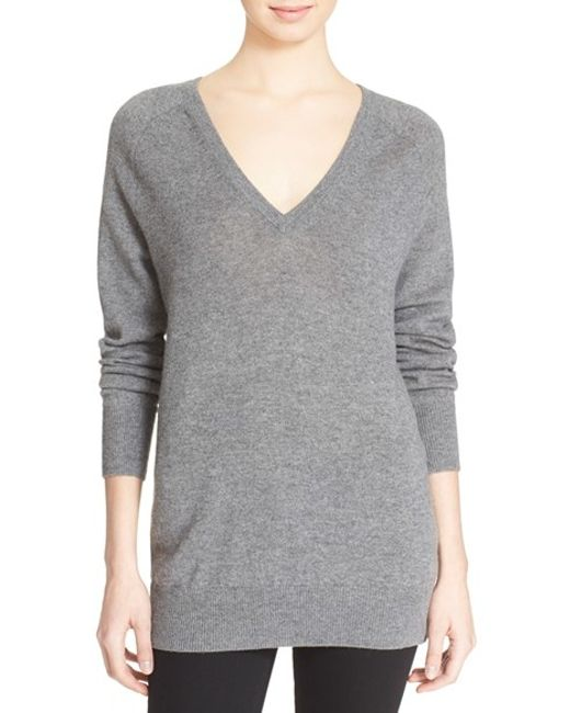 Equipment   Gray 'asher' V-neck Cashmere Sweater   Lyst