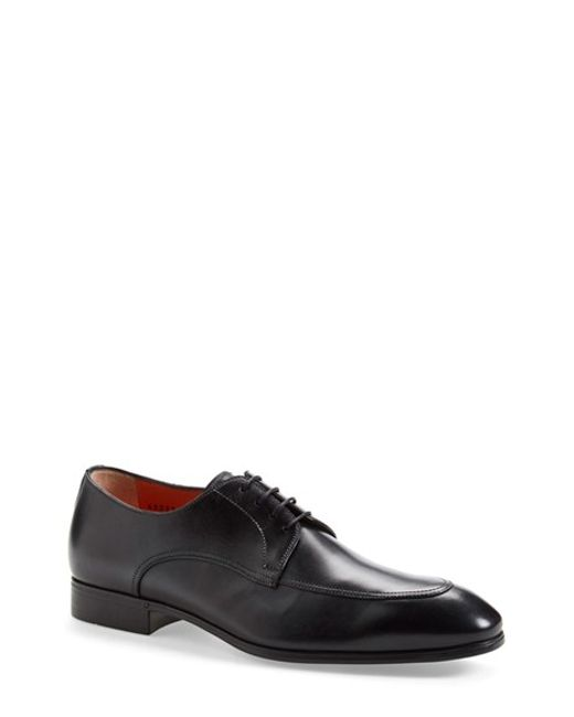 Santoni | Black 'atwood' Apron Toe Derby for Men | Lyst