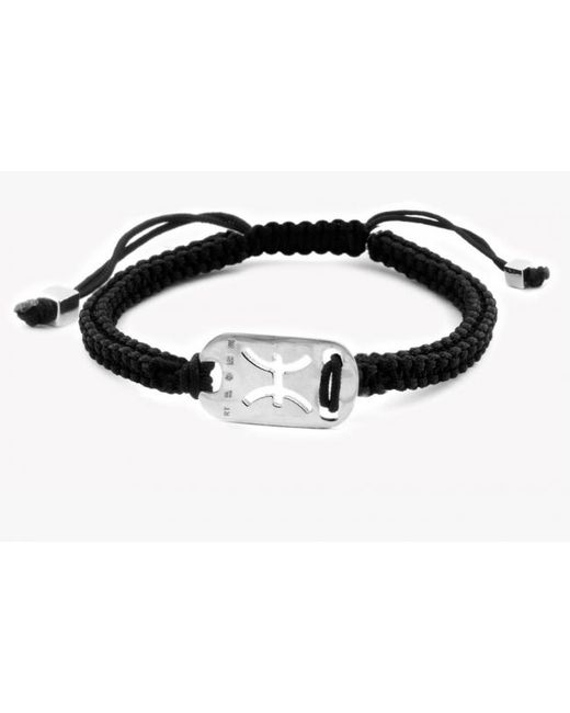 Tateossian | Metallic Zodiac Silver Pisces Black Macramé Bracelet for Men | Lyst