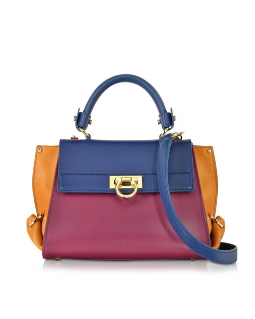 Ferragamo | Metallic Small Sofia Color Block Leather Shoulder Bag | Lyst