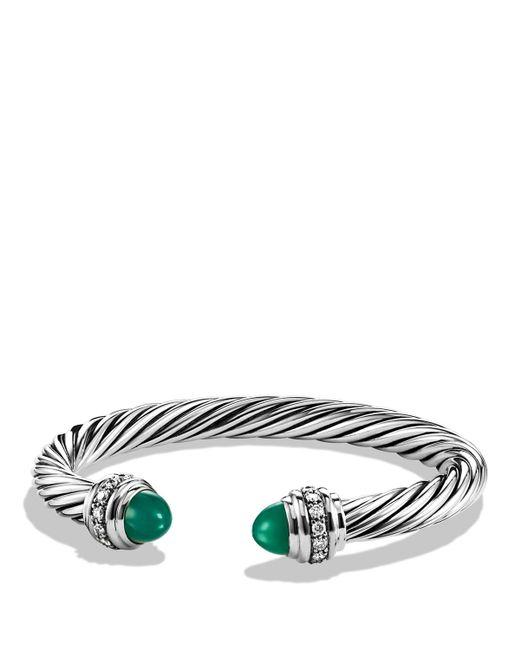David Yurman   Cable Classics Bracelet With Green Onyx & Diamonds   Lyst