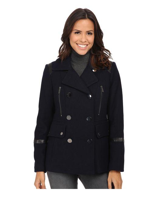 MICHAEL Michael Kors | Blue Wool Peacoat W/ Faux Leather | Lyst
