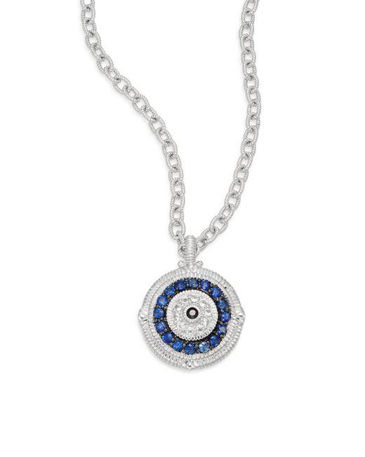 Judith Ripka | Metallic Lucky Blue, White & Black Sapphire Evil Eye Large Pendant Necklace | Lyst