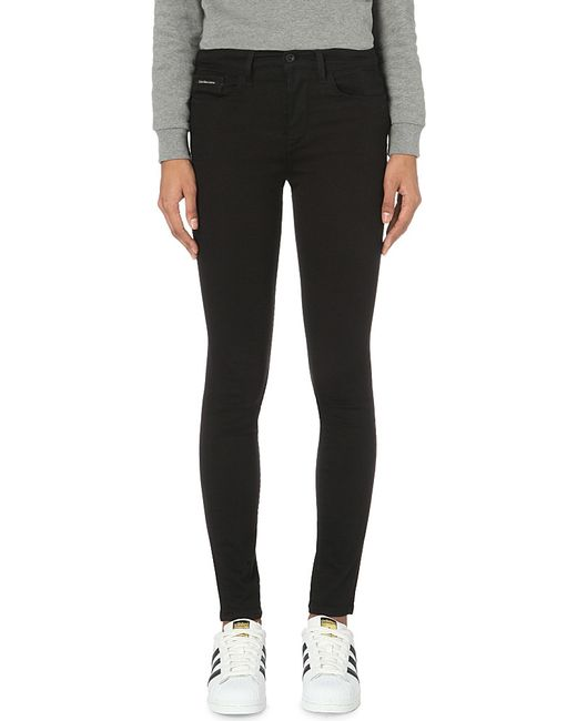 Calvin Klein   Black Skinny High-rise Jeans   Lyst