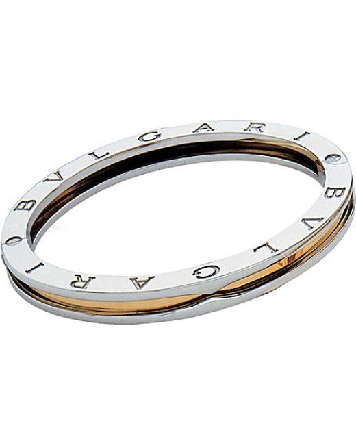 BVLGARI | Metallic B.zero1 18kt Yellow-gold And Steel Bangle Bracelet | Lyst
