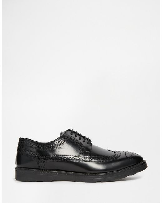 asos brogue shoes in black leather in black for save