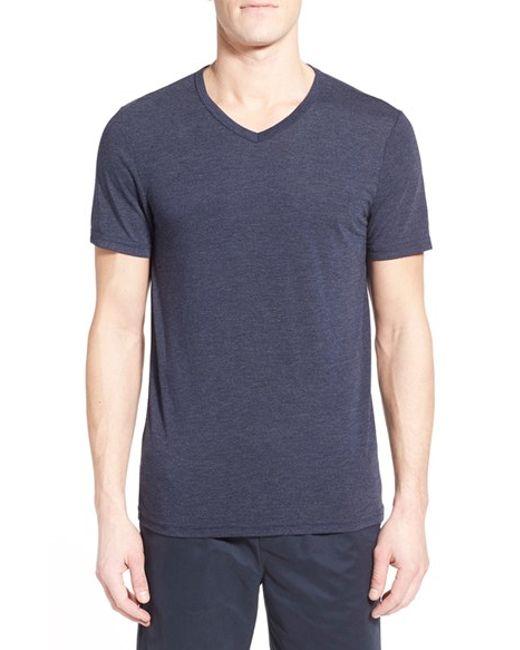 Michael stars v neck t shirt in blue for men lyst for Michael stars tee shirts