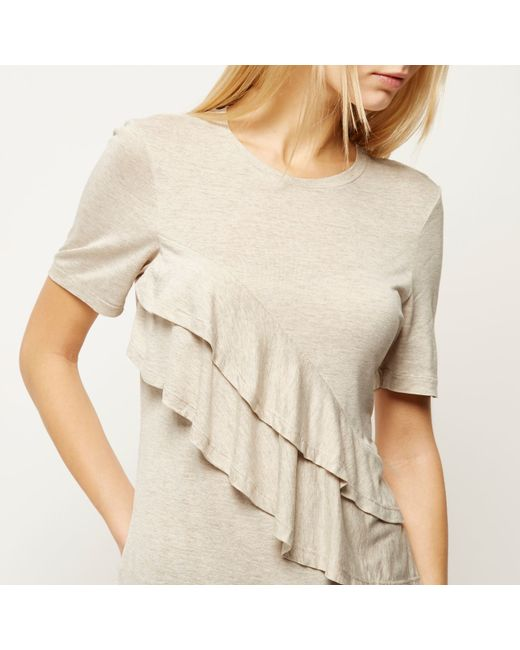 River island ecru frill front short sleeve t shirt in for Frill sleeve t shirt