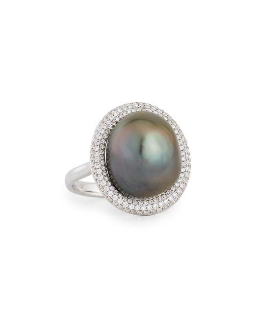 eli jewels 18k white gold tahitian pearl ring w diamonds