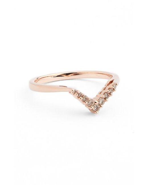 Anna Sheffield | Pink Champagne Diamond Petit Chevron Ring | Lyst
