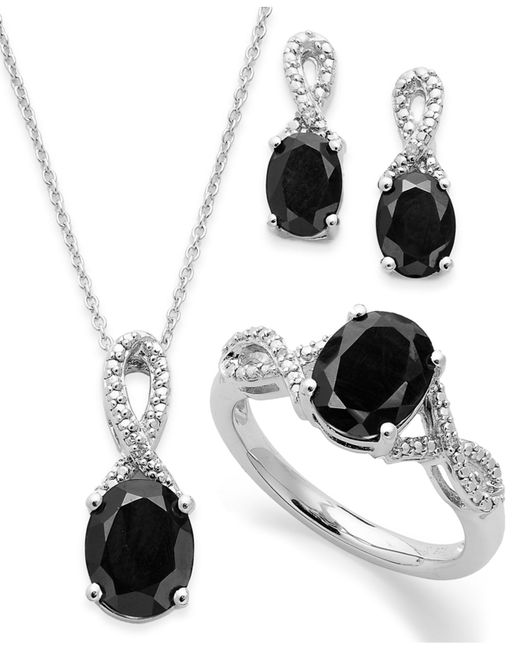 Macy's | Metallic Onyx (4-1/2 Ct. T.w.) And Diamond Accent Jewelry Set In Sterling Silver | Lyst