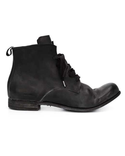 a diciannoveventitre lace up distressed leather boots in