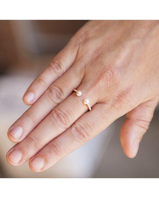Anne Sisteron | Metallic 14kt Yellow Gold Diamond Pearl Tastemaker Ring | Lyst