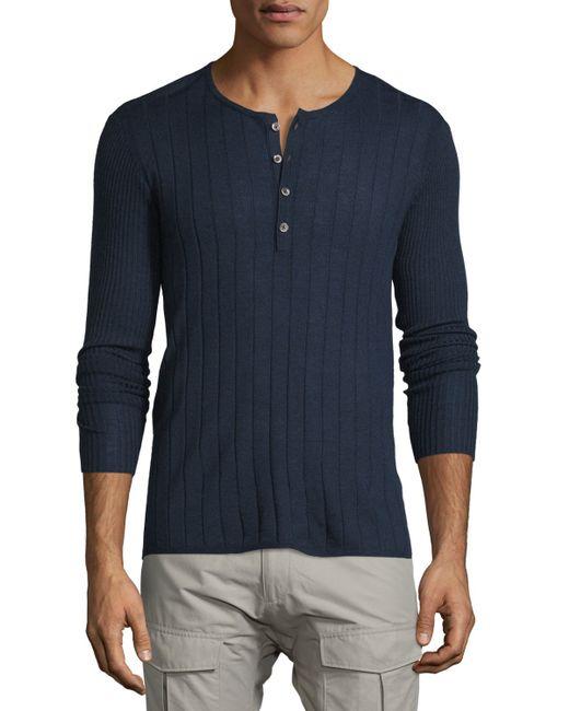 John varvatos ribbed long sleeve henley shirt in blue for for Ribbed long sleeve shirt