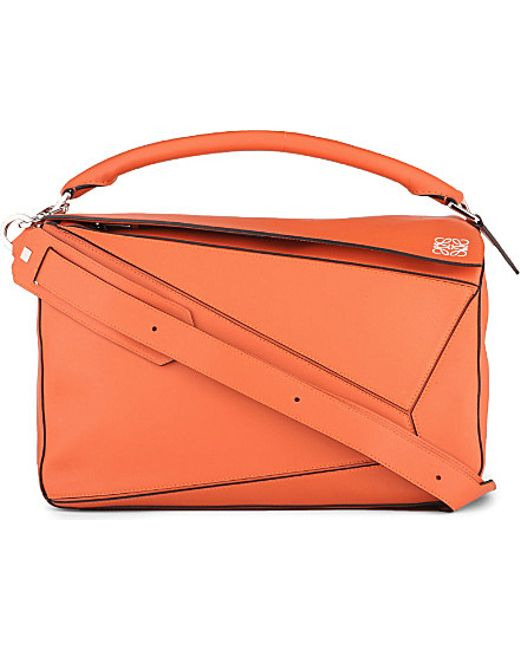 Loewe | Orange Puzzle Leather Shoulder Bag Large | Lyst