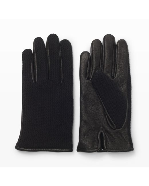 Club Monaco | Black Half-knit Leather Glove for Men | Lyst