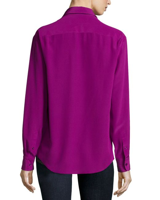 Pink pony long sleeve button front shirt in purple save for Black ralph lauren shirt purple horse