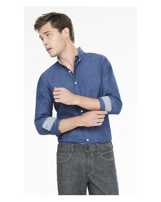 Express | Blue Soft Wash End-on-end Shirt for Men | Lyst