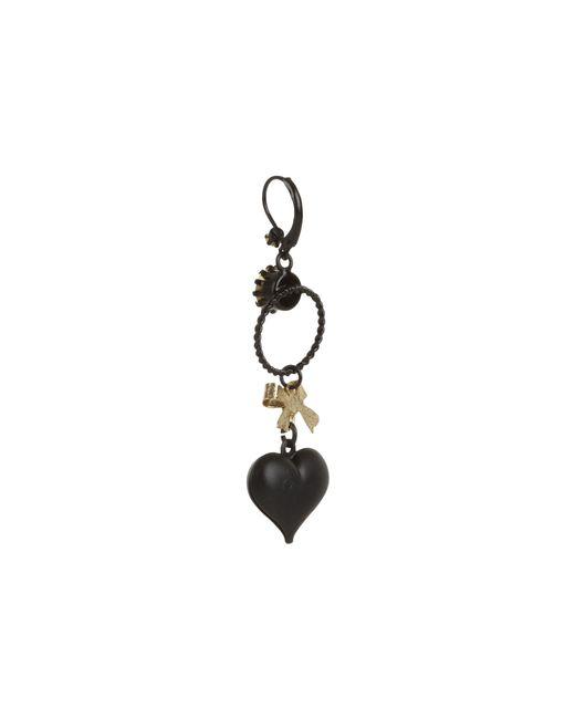 Betsey johnson Heart/ Bow Drop Earrings in Black | Lyst