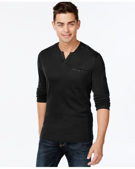 INC International Concepts | Black Men's Collude Split-neck Shirt, Only At Macy's for Men | Lyst