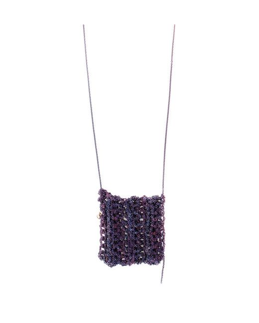 Arielle De Pinto | Purple Ribbed Drop Necklace | Lyst