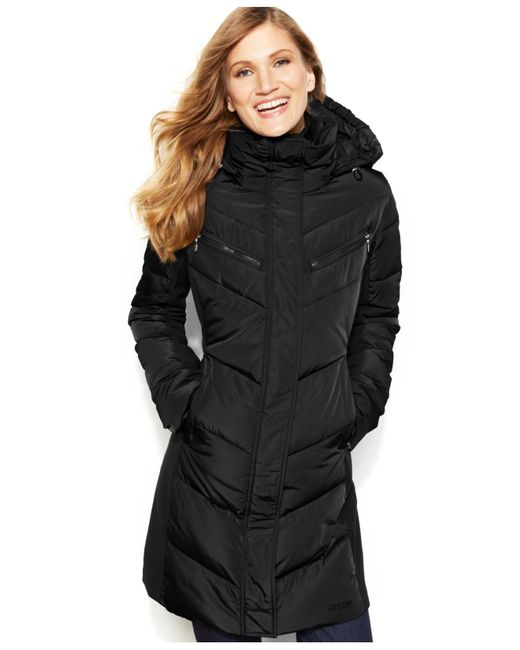 Calvin Klein Hooded Quilted Colorblock Puffer Coat In